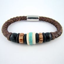"Round braided leather bracelets, ""Indiana-Jones"" collection"